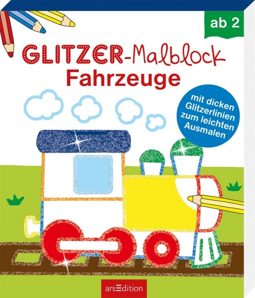 GLITZER-MALBLOCK FAHRZEUGE - AB 2 J.
